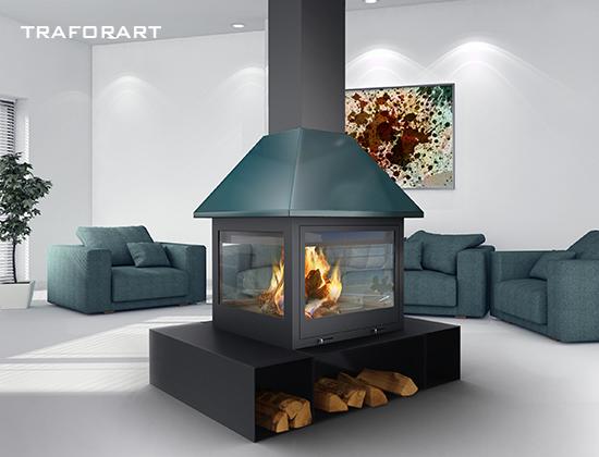 SANDRA-中央款燃木壁炉